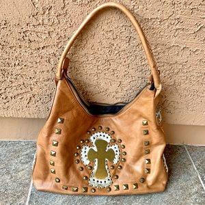 Ohh Ashley Leather Cross Embossed Shoulder Bag